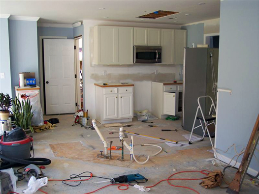 Kitchen Before: Partially Installed Cabinet Wall