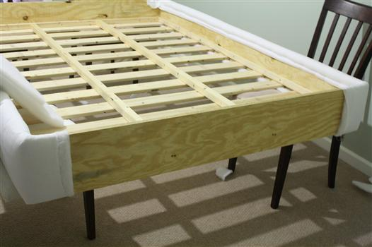 covering a bed frame in fabric
