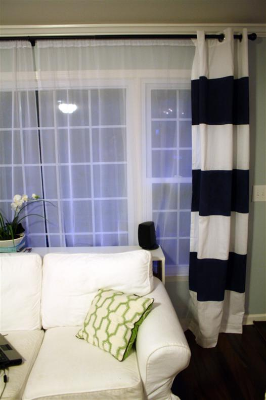 White Curtains black out white curtains : How to Paint Striped Curtain Panels