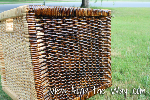 Wood stain on wicker storage baskets