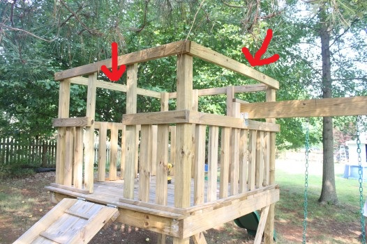 How to add a roof to a diy wooden playground playset for Playground building plans