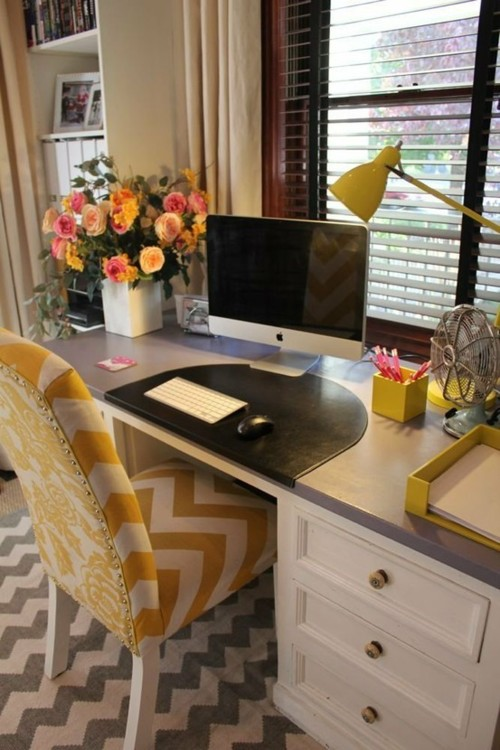 Desk with yellow chevron chair and gray chevron rug