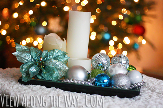 Easy Christmas Decor: Mirrored tray with ornaments