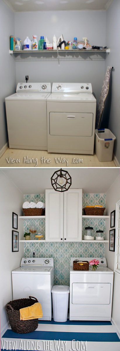 How to paint vinyl or linoleum sheet flooring for Laundry room redo blog