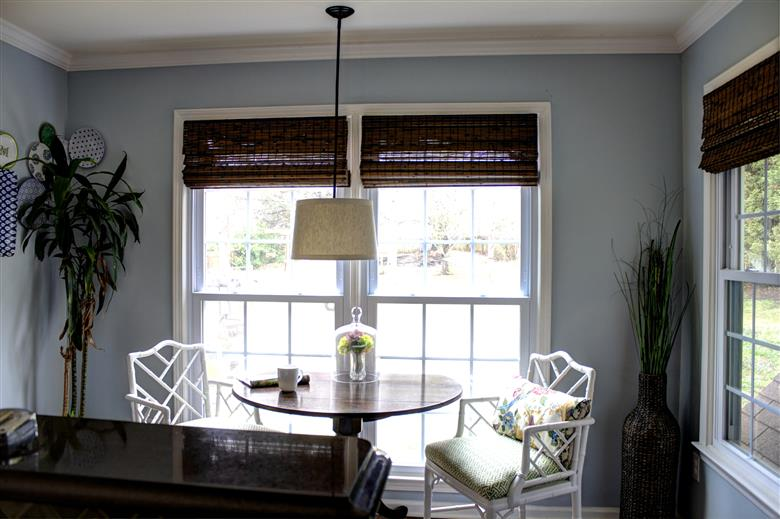 Custom bamboo blinds in breakfast nook