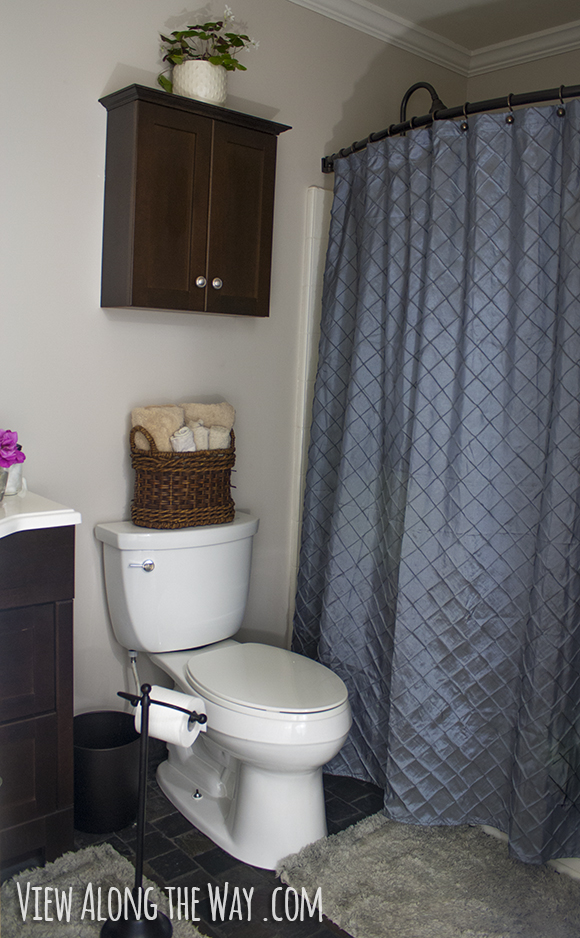 Bathroom with blue-gray shower curtain and dark wood accents