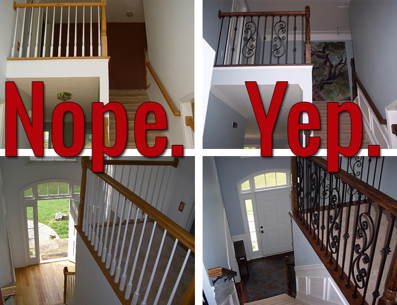 Iron baluster staircase: before and after