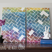 DIY large-scale herringbone art - anyone can make this! Your kids can help!