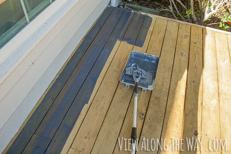 How To Stain A Wood Deck By View Along The Way Homeright