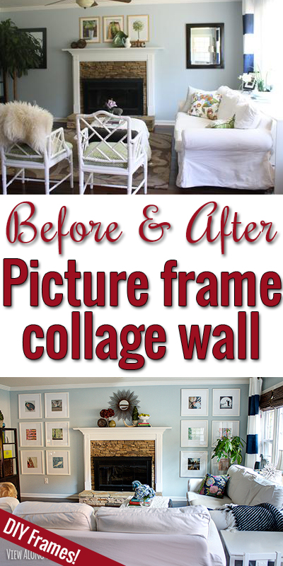 DIY picture frames surrounding a fireplace!