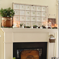 Window pane advent mantel - plus TONS of creative, beautiful advent ideas on this page!