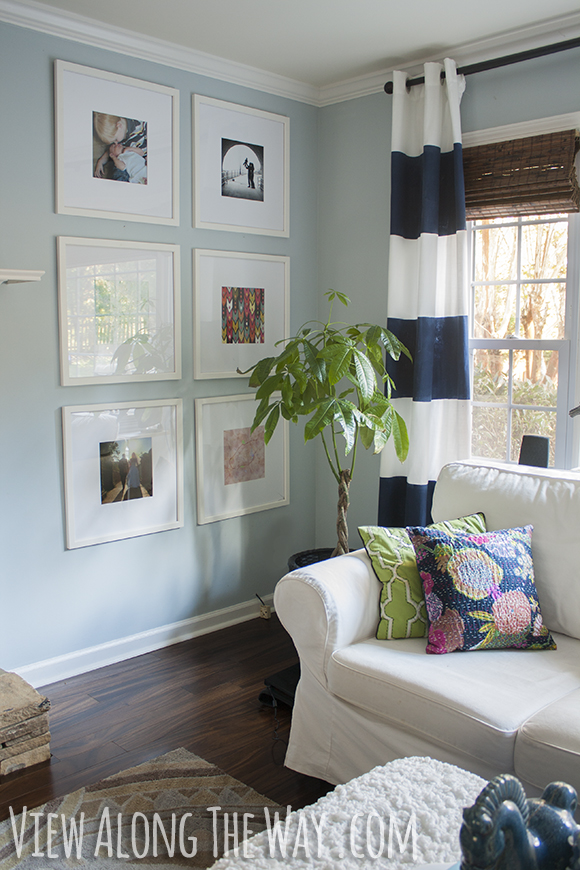 Wall of DIY picture frames