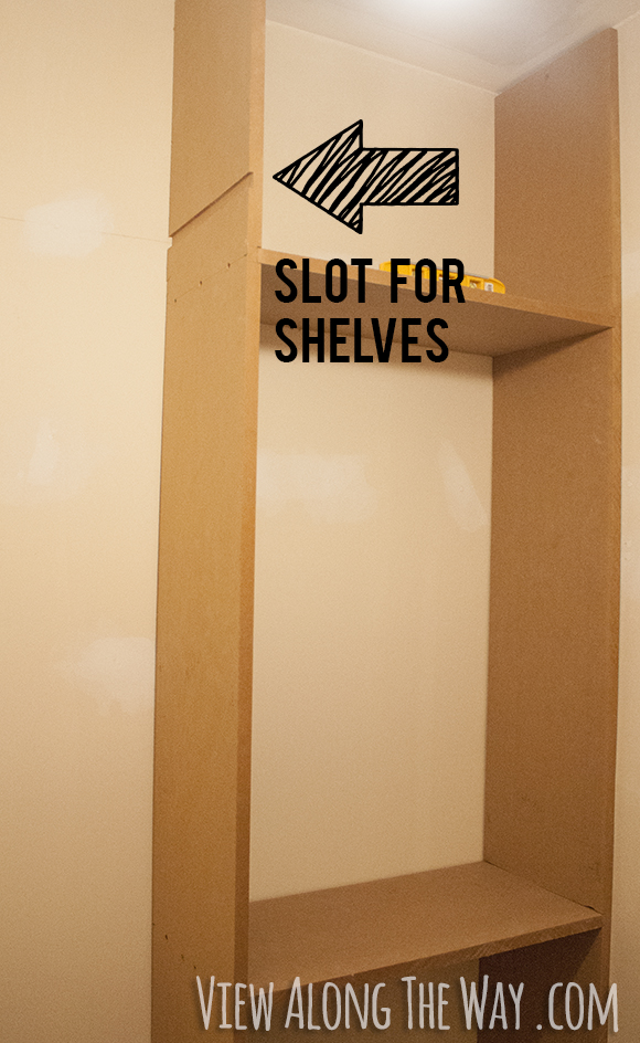 Routing out a slot for shelves to make custom closet shelving