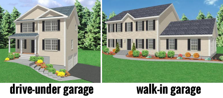 Driive-under garage vs walk-in garage