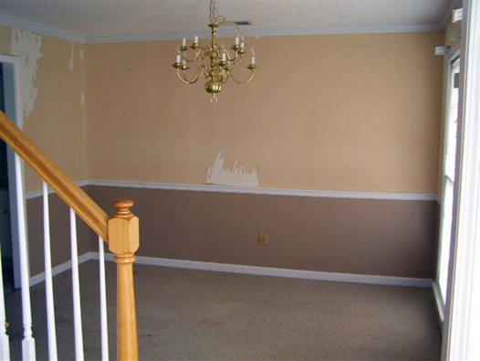 Dining Room Before: Peeling Wallpaper, Brass Chandelier