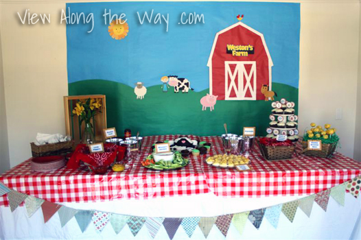 Farm Barnyard First Birthday Party Food Table Ideas