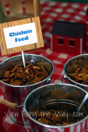 Farm/Barnyard First Birthday Party Food Table Ideas: Chex Mix Chicken Feed