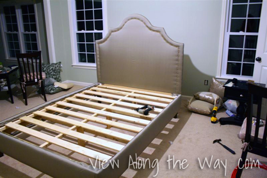 DIY upholstered platform bed: gray with nailhead trim