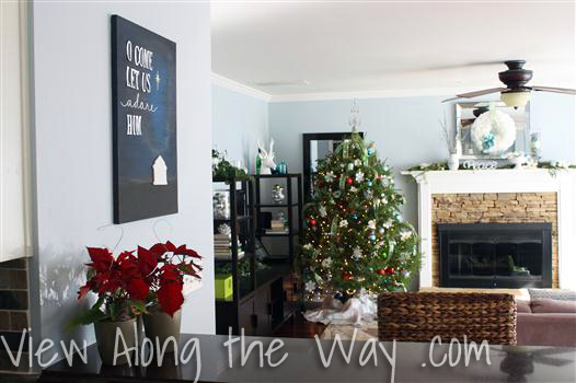 Decorating for Christmas with DIY art, acrylics and chipboard letters on canvas