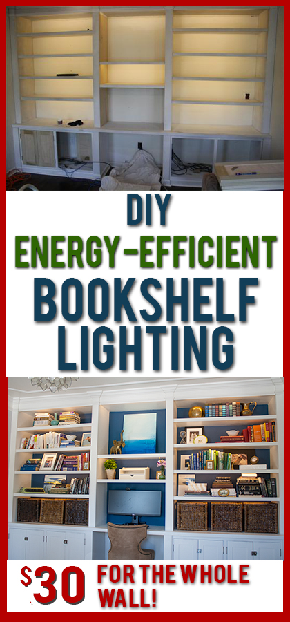 DIY lights for bookshelves or under cabinets. Such soft, even light and it's SO cheap to buy and install!