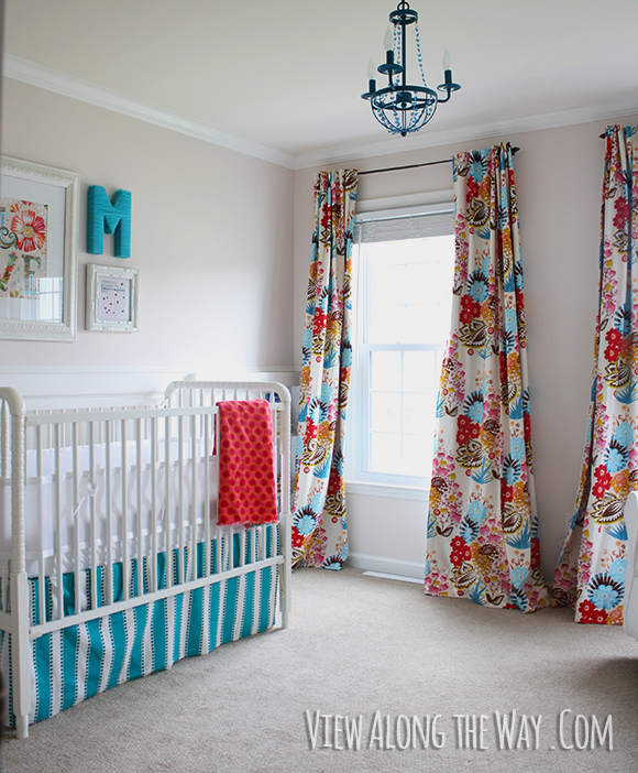 Baby Nursery With Diy Curtains In Bright Graphic Fabric Crib Skirt And