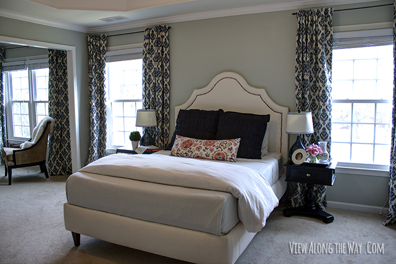 Master bedroom with DIY curtains and a DIY bed at www viewalongtheway com. Tutorial  How to Sew DIY Black out Lined Back tab Curtains