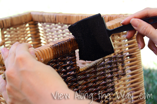 Wet wood stain on wicker storage baskets