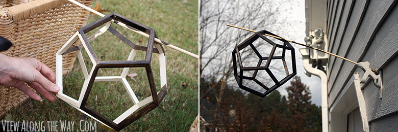 Dark walnut stain on a dodecahedron