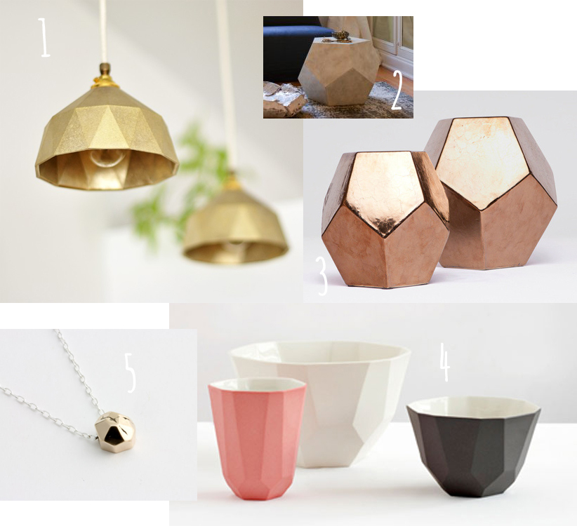 Home decor facet trend, faceted items, trend toward facets, facets in home decorating