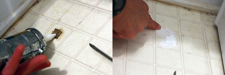 Using Caulk To Repair Holes In Vinyl Sheet Flooring