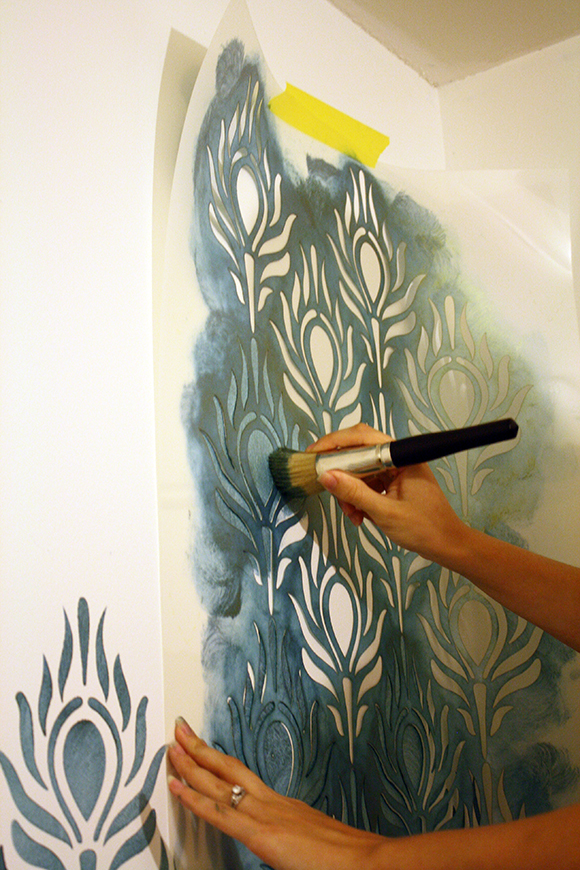 Bedroom Stencil Ideas. How to stencil  large peacock in teal paint Tutorial how walls tips and tricks for wall stenciling