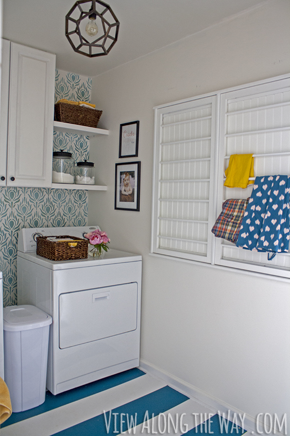 Laundry room makeovers charming small Pinterest Laundry Room Makeover For Only 157 Painted Floors Stenciled Walls Come View Along The Way Laundry Room Inspiration Redecorate Laundry Room On Budget