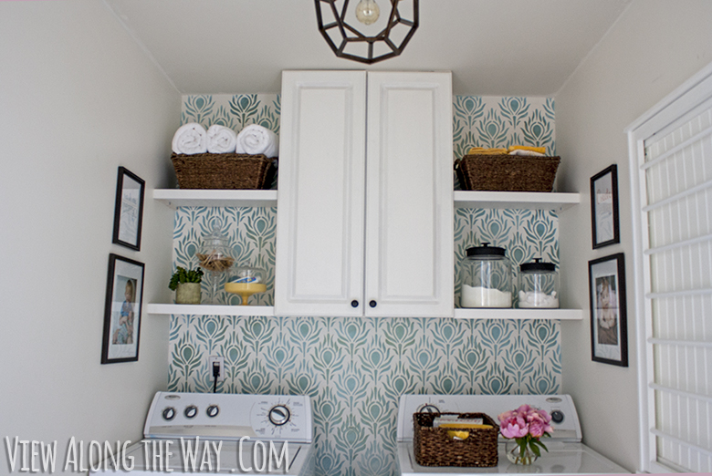 Laundry Room Makeover For Only 157 Painted Floors Stenciled Walls Come