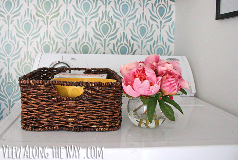 pink peonies and wicker tray
