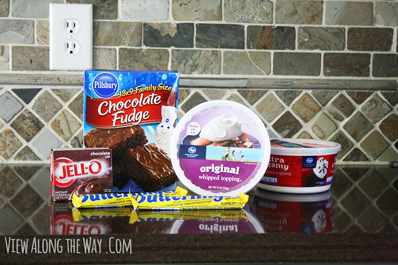 Ingredients to make a butterfinger trifle