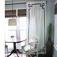 Stunning Make no sew Greek Key curtains with ribbon