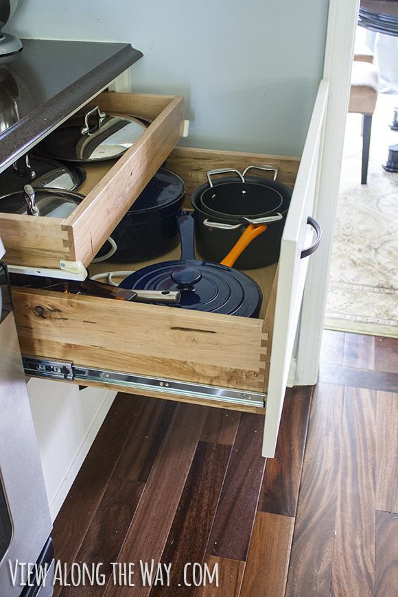 Double-decker drawer for pots and lids, plus lessons learned on how to do a kitchen remodel well!