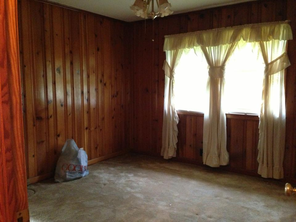 How to decorate around dark wood paneling Should i paint wood paneling