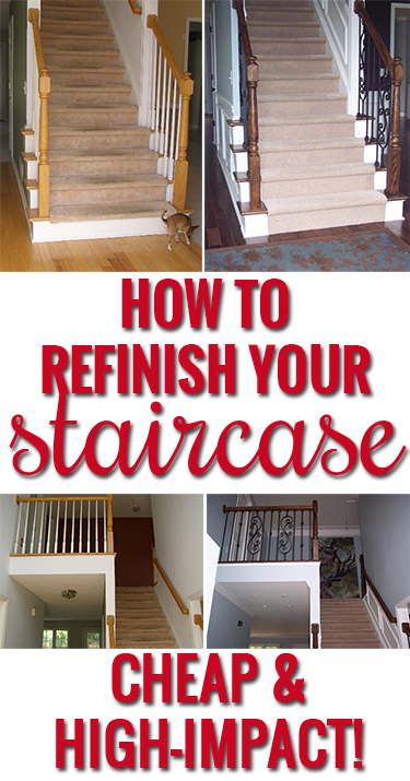How to refinish and update wood stair railings - Easy ways of adding color to your home without overspending ...