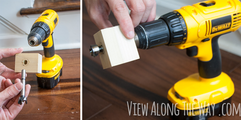 How to install iron balusters: make a jig to drill a hole in the railing