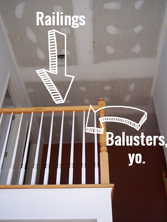 Balusters vs stair railing: how to stain wooden railings