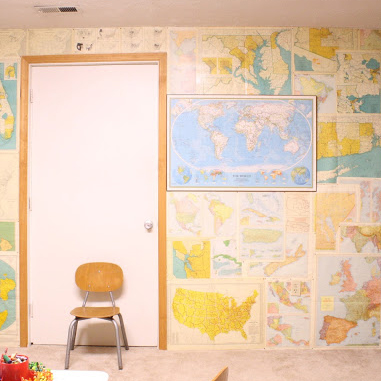 Creative map college (perfect in a kids' room or schoolroom!) - plus TONS of other inexpensive wall decor ideas!