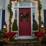 Front door at Christmas - fresh greenery and a DIY wreath!