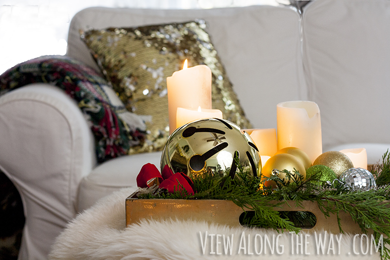 decorate your coffee table for christmas with candles and greenery on a tray - Christmas Decorations For Sofa Table