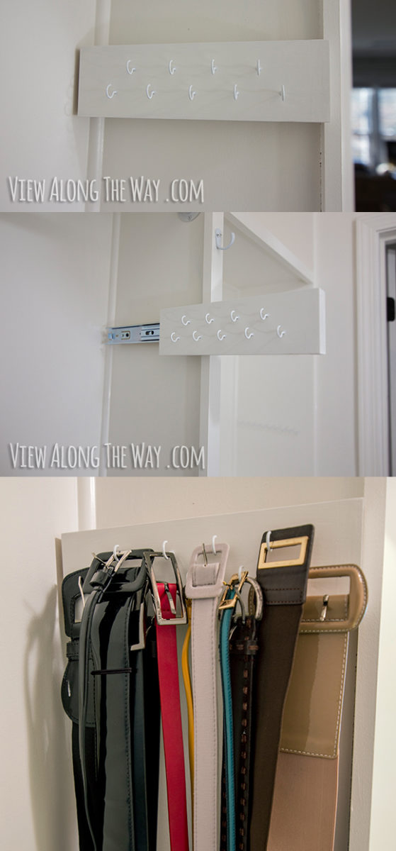 DIY slide-out belt organizer
