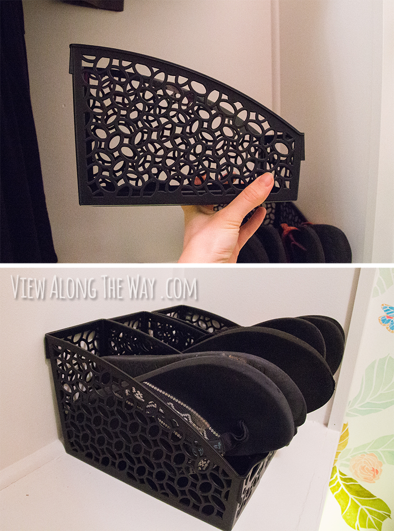 Great idea for flip flop storage! Keep them in a folder box -- and check out the other AWESOME DIY closet ideas at this post!