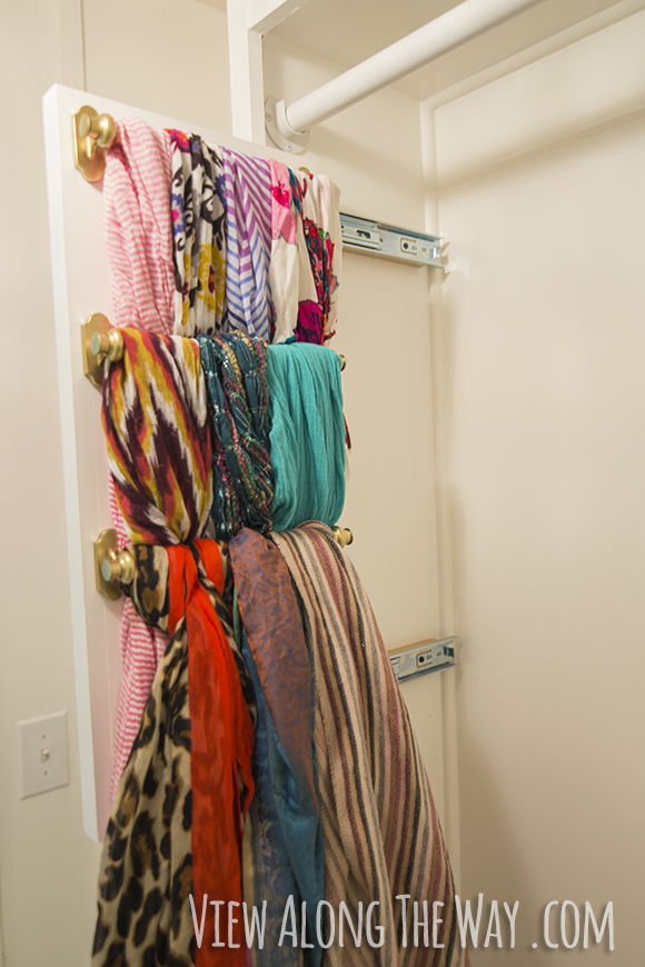DIY slide-out scarf organizer!
