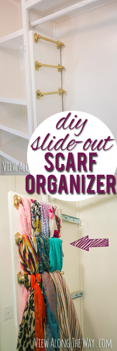 DIY slide-out scarf organizer for custom closet!