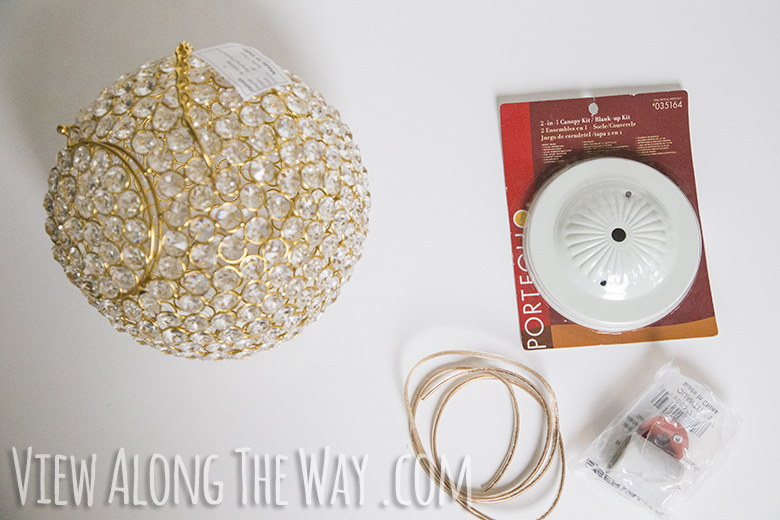 Materials needed for DIY crystal ball chandelier