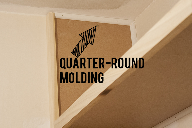 using quarter-round molding on shelf units